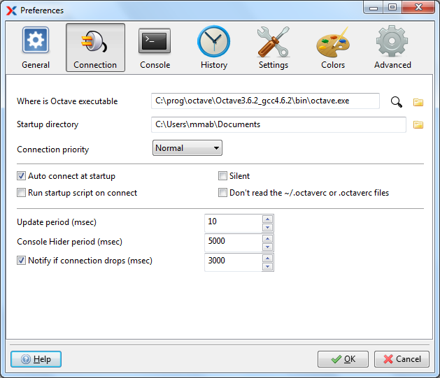 Xoctave Gnu Octave Matlab like GUI - Preferences - Connection